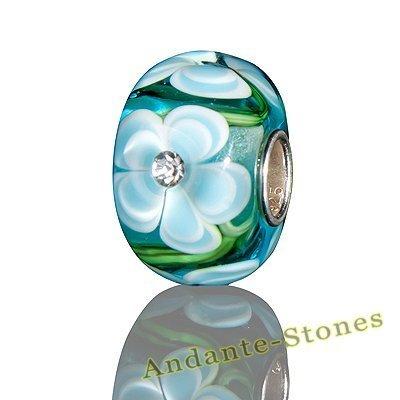 Andante-Stones 925 Sterling Silber Glas Bead Charm SEALIFE (Türkis mit weißen Blumen und Zirkonia) Element Kugel für European Beads + Organzasäckchen (Capri Klee)