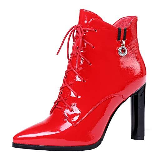 AIYOUMEI Damen Lack Stiefeletten Blockabsatz Spitz Ankle Boots zum Schnüren Schnürstiefeletten High Heels Lackstiefel Rot 38.5 EU