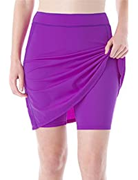 3dbcd948cf Micosuza Womens Skirted Swim Short Sun Protective UPF 50+ Swimming Bottom  with Attached Skirt