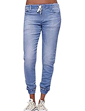 ALIKEEY Mujer Otoño Elastic Plus Loose Denim Casual Drawstring Plus Jeans Recortados