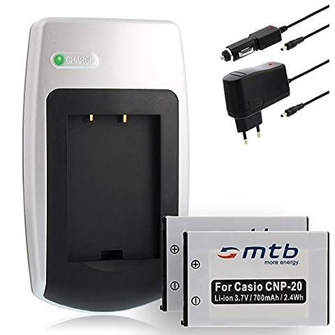 2x Batteries + Chargeur pour Casio NP-20 - Voir liste de compatibilité