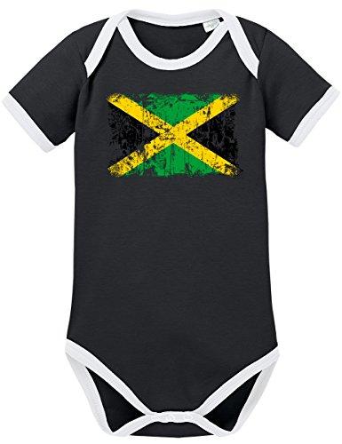 TShirt-People TSP Jamaika Vintage Flagge Fahne Kontrast Baby Body 74 ()