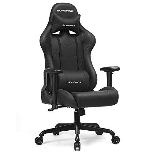 SONGMICS Gaming Stuhl 150 kg, Bürostuhl, Schreibtischstuhl mit Lendenkissen, Stahlgestell, hoher Rückenlehne und breiter Sitzfläche, höhenverstellbar, ergonomisch, Kunstleder, schwarz RCG42BK