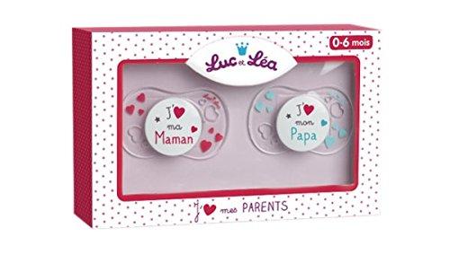 """Luc et Lea - Coffret Bébé 2 Sucettes """"j'aime ma maman et papa"""" 0 - 6 mois"""