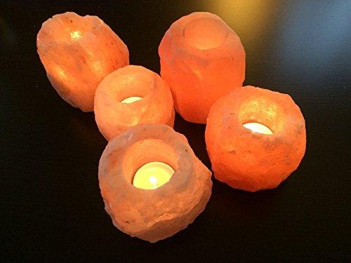 Base para vela de té Magic salt®, 4 piezas, calidad 100% prémium y fina, de roca de sal cristalina del Himalaya color rosa, natural, con patas de plástico, el mejor regalo para tus seres queridos