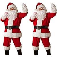 Disfraz de Papá Noel, Rojo, con Chaqueta, pantalón, Barba, Gorro y cinturón Gusspower