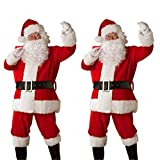 SuperSU Weihnachten Männer Anzug Gürtel Hut Weihnachten Kleidung Hosen Weihnachtsmann Set Kleidung Set Santa Claus Jacke, Hose, Gürtel, Mütze und Bart Sets Party Outfits