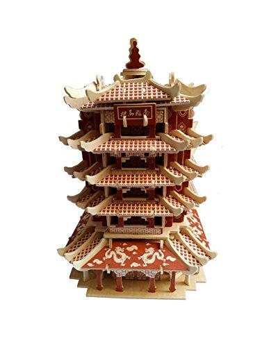 Yellow Crane Tower Dreidimensionale Gebäude Des Manuelle Montage Holzmodell