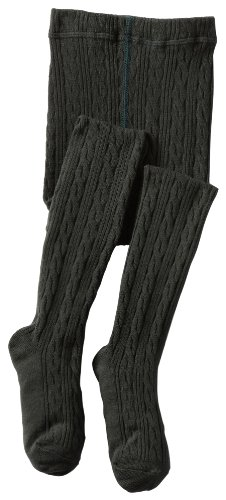 Jefferies Socks Little Girls' Cable Tight, Charcoal, 2-4 Years