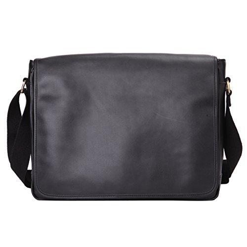 Leathario Herren Ledertasche Umhängetasche Handtasche Schultertasche Aktentasche Laptoptasche Schultasche Dokumententasche Businesstasche Messenger Bag (Messenger Bag Schwarz Tasche)