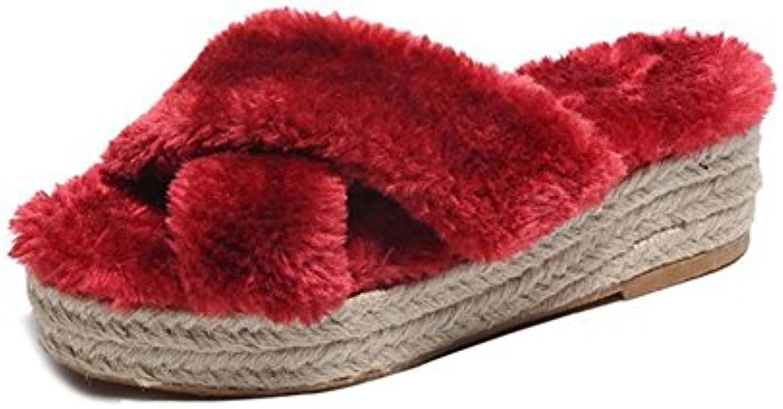 WANGXN Pantuflas de las seoras Plush Loaves Thick Bottom Weave del color sólido , red , 39