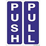 #7: Clickforsign PP-BWP(5) Self Adhesive Vinyl Push Pull Sign Sticker, Set of 5