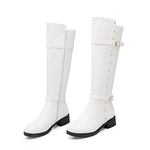 AllhqFashion Damen Niedriger Absatz Schnalle Rund Zehe Pu Leder Reißverschluss Stiefel Weiß