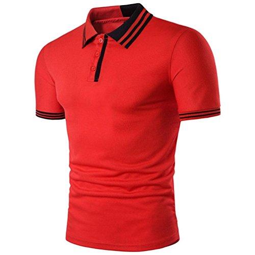 FEITONG Herren Poloshirt Männer Bluse Kurzarm Slim Fit Pullover Shirt Einfarbig Casual Tops Sommer Polo Shirts (XL, Rot) -
