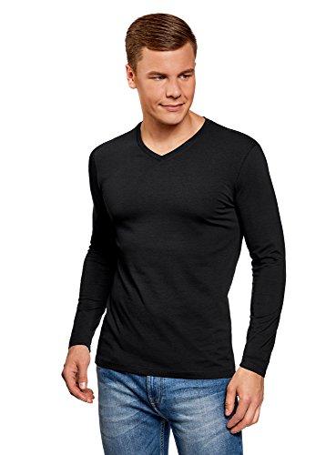 oodji Ultra Herren Tagless Langarmshirt mit V-Ausschnitt, Schwarz, DE 50/M (50 Jersey Shirt Polo)