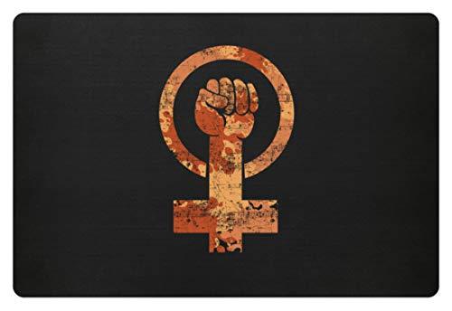 SPIRITSHIRTSHOP Cooles Feminismus Frauenpower Venus Symbol für Emanzipation Unabhängigkeit Selbstbewusst - Fußmatte -60x40cm-Schwarz