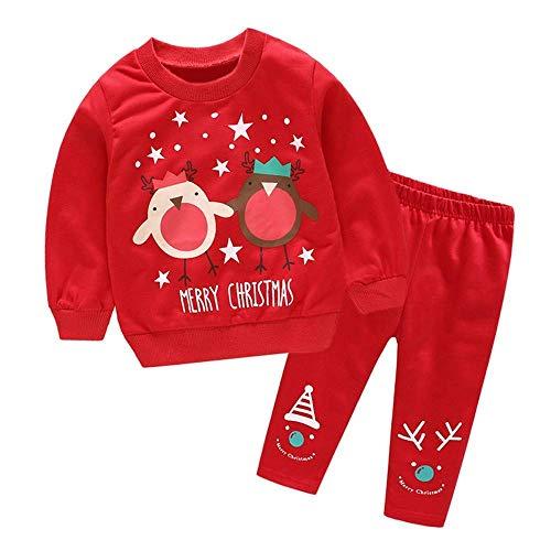 Qiusa Kleinkind Baby Weihnachten Outfits, Mode Weihnachtsmann Schneemann Hirsch gedruckt Tops + Muster gedruckt Hosen Sets Herbst Rundhals Pullover Sweatshirt Sportwear Hosen für Kinder