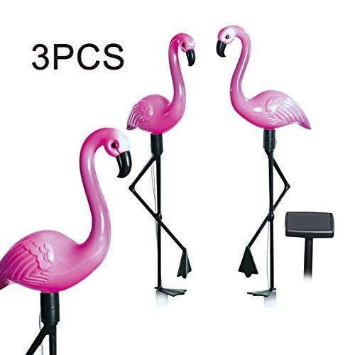 Heaviesk 3 Teile/Satz LED Solar Power Lampe Hausgarten Hof Pathway Dekoration Licht Im Freien wasserdichte Simulierte Flamingo Rasen Lampe (Rosa Flamingos Hof)