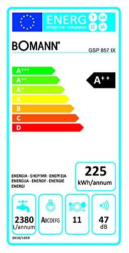 Bomann GSP 857 IX freistehender Geschirrspüler/A++ / 225 kWh/Jahr / 45 cm / 11 MGD / 2380 L/jahr/elektronische Programmsteuerung/Edelstahl-Bedienblende mit LED-Display