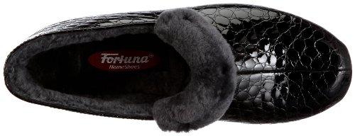 Fortuna Brigitte 412097-12, Pantofole donna Nero (Schwarz (schwarz 001))