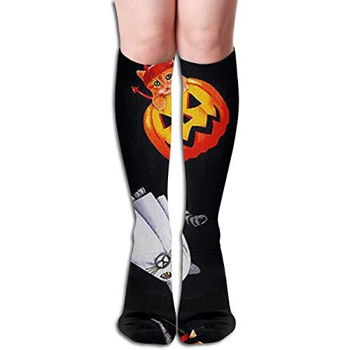 jiilwkie Halloween Black Cat Pumpkin Design Elastic Blend Long Socks Compression Knee High Socks (65cm) for ()