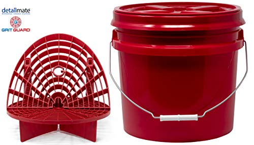 detailmate Red Bucket Set - Grit Guard Wasch Eimer rot 3,5 Gal (ca 12L) + GritGuard Schmutz Einsatz + Waschboard + Gamma Seal Deckel - Red Grit Guard