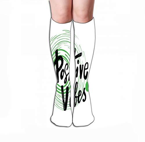 Men Women Outdoor Sports High Socks Stocking Positive Vibes Hand Lettering Inscription Motivation Quote Design Poster Banner Green Circles Tile Length 19.7
