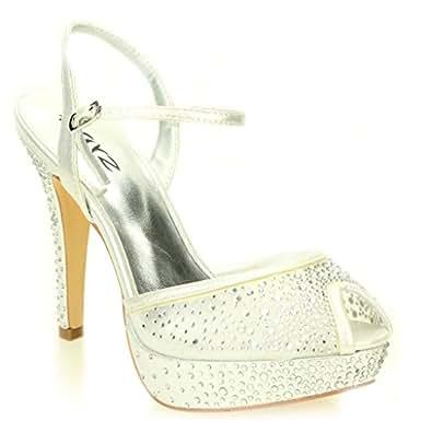 Donna Diamante Tacco Alto Scarpe da sera nuziale sera dimensioni Sandali