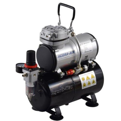 Preisvergleich Produktbild Agora-Tec® Airbrush Compressor AT-AC-04, Kompressor für Airbrushanwendungen mit 4 bar und 21,6l/min, inkl. 3,0 L Tank, inkl. Kondenswasserfilter und Druckregler