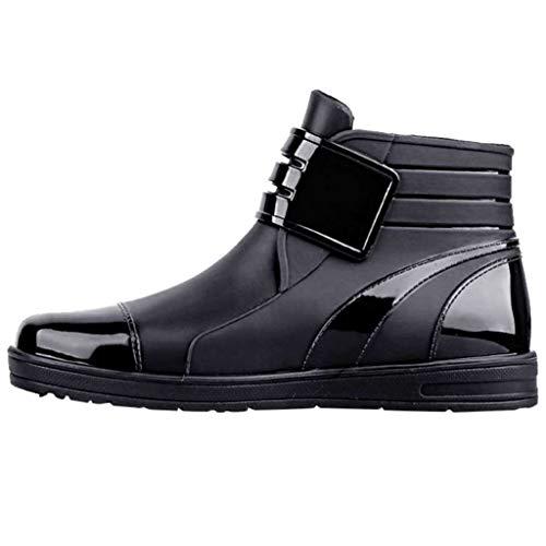 Pirat-schwarz-erwachsene Stiefel (Herren Gummistiefel Trendige Unisex Wasserdicht Rutschfeste Kurz Regenstiefel Einfarbig Flache Wasserschuhe Gartenschuhe Freizeit Leichte Outdoor Regenschuhe Stiefel Rain Boots (41 EU, Schwarz))