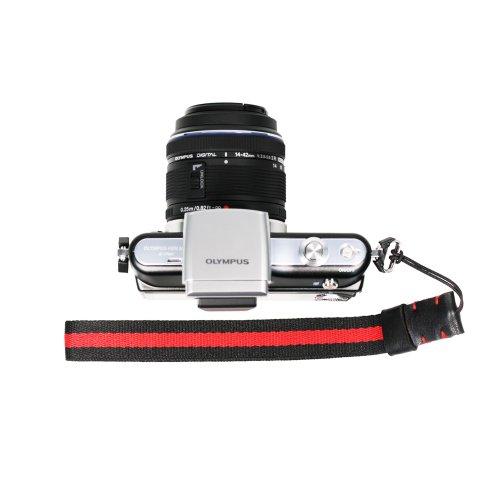 Foto & tech quattro stagioni Serie Knitted grosgrain regolabile cinturino da polso rosso/nero/Multi-Striped per Sony NEX Leica Canon, Nikon, Panasonic, Fujifilm, Olympus, Pentax Samsung Mirrorless fotocamere compatte