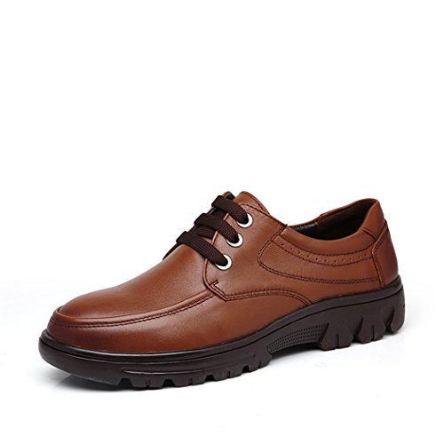 spades-clubs-mens-smooth-leather-casual-trendy-thick-heel-working-platform-shoes-size-10-uk-brown
