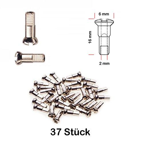 37 Stück Speichen Nippel Fahrrad Felge Laufrad ROSTFREI 2,0 mm x 16mm MESSING