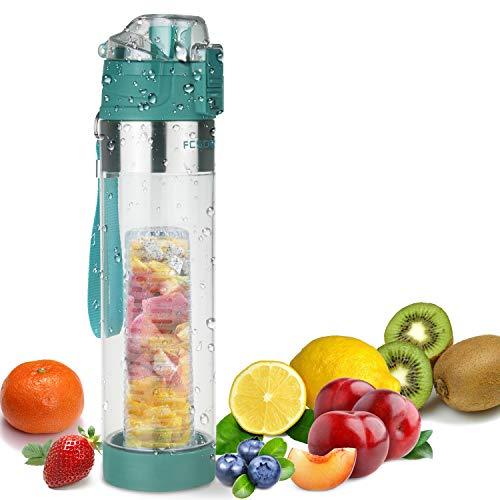FCSDETAIL Sport Trinkflasche für Fruchtschorlen 700ml, Wasserflasche mit Flaschenbürste, Auslaufsicherer KlappDeckel, BPA-Frei Tritan-Kunststoffflasche mit Bottom Infuser Design und Sieb