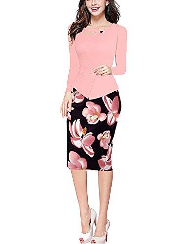Donna Vestiti Elegante Stampato Floreale Abito dell'anca Pacchetto Vestito Maniche lunghe Rosa