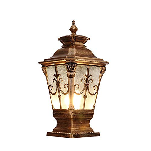 Xiao Fan ▶ Moderne Schwarze Outdoor Gartenlaterne Post Licht Lampe Pathway Beleuchtung außerhalb Poller Einfahrt E27 Straße Lampe IP55 Wasserdicht bewertet (Farbe: Bronze-Höhe 46 cm) ◀