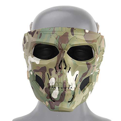 MOGOI Airsoft Schädel Gesichtsmaske, Vollgesichtsschutzmasken Für Airsoft Paintball Outdoor Cs Krieg Spiel BB Gun Halloween Party Cosplay Maske Filmrequisiten Skeleton Masken (Für Outdoor-spiele Die Halloween-party)