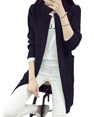 Femme Pull Tricot Manche Longue à Col Roulé Cardigan Veste avec Poches Noir