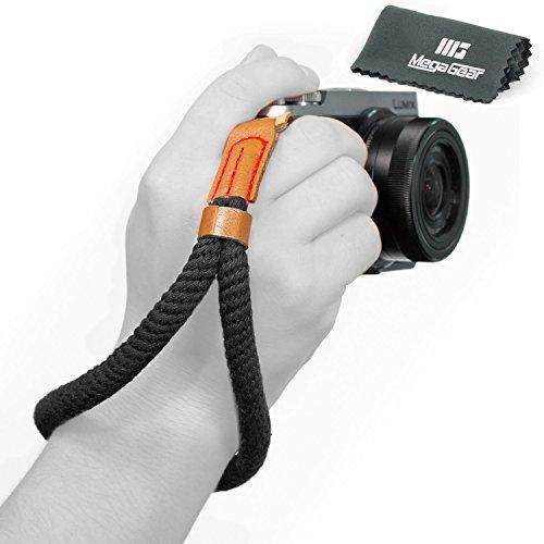 MegaGear Baumwollkamera Handgelenkschlaufe Komfortpolsterung, Sicherheit für alle Kamera |Klein 23cm/9inc| (schwarz) (Fangen Zu Ihn)
