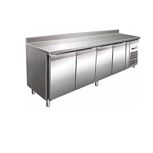 Tisch Gefrierschrank Gastronomie GN1/1belüftet mit Etagere 4Türen aus Edelstahl AISI 304Temp. - 18°/-22°C