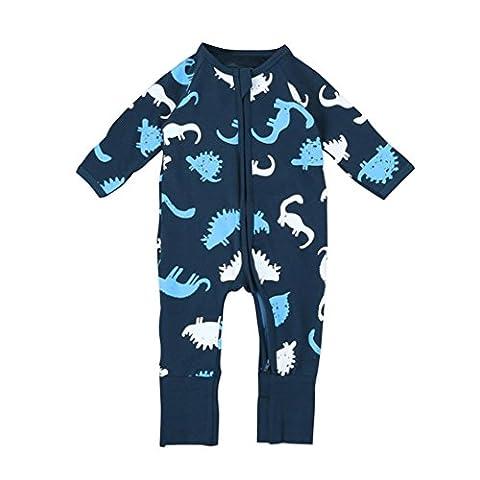 BURFLY Infant Baby Boys Girls Dinosaur Print Zipper Long Romper Jumpsuits (6Months, navy)
