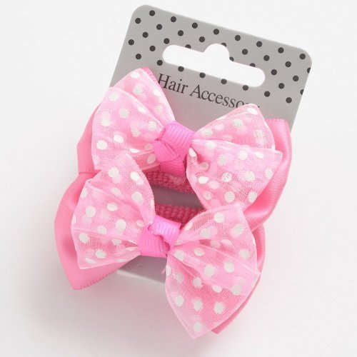Childrens Hair Bobbles In Pink Bow Polka Dot Pattern by specialdaysandgifts (Polka Dot Bow Pattern)