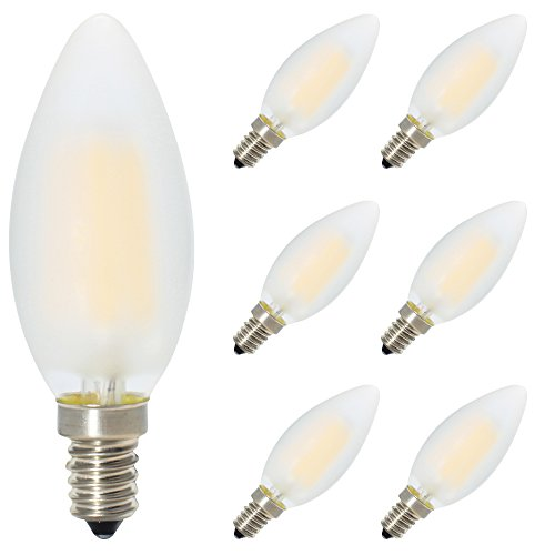 6er-Pack E14 Dimmbar LED Kerzenform Ersetzt 40W Glühlampen,Warmweiss 2700K, C35 4W, Matt Glas,360º Abstrahlwinkel LED Birnen, LED Kerzenlampen, LED Kerzenleuchten, LED Leuchtmitte -