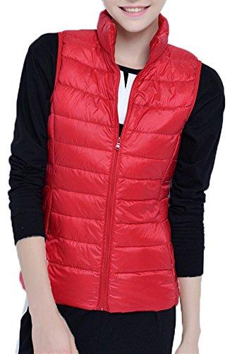 Mochoose Doudoune Sans Manche Gilet Ultra Légère Veste Manteau Parka Blouson Zippée Hiver pour Femme Rouge