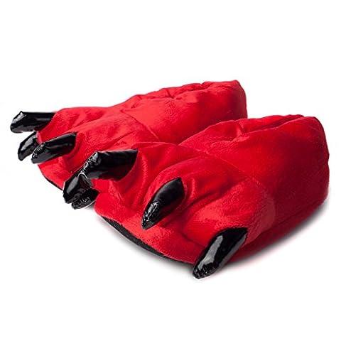 Katara 1773 - Katara - Chaussons Patte avec Griffes, Pantoufles Chaudes en Peluche Design Animal pour Adultes et Enfants, Unisexe - Idéal pour Cosplay, Carnaval ou Fête à Thème - Taille Unique UE 37-45 Rouge