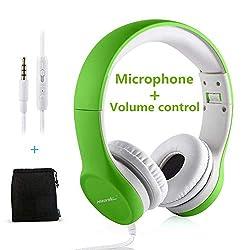 Hisonic Kopfhörer für Kinder, Leicht kopfhörer Kinder Kopfhörer mit Laustärkebegrenzung auch Mikrofon Verstellbare Kinder Erwachsene Headset für Jungen und mädchen ab 3 Jahre (Grün)
