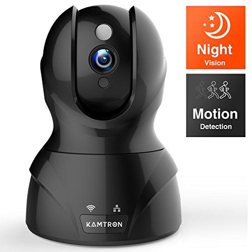 Wlan IP Kamera,KAMTRON 720P HD WiFi Überwachungskamera,mit 350°/100°Schwenkbar,Home und Baby Monitor mit Bewegungserkennung, Zwei-Wege-Audio, Nachtsicht, unterstützt Fernalarm und Mobile App Kontrolle (Ip-kamera)