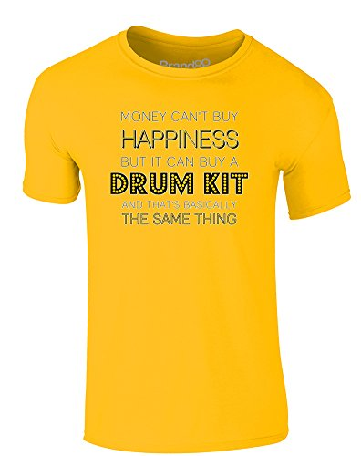 Brand88 - Money Can Buy A Drum Kit, Erwachsene Gedrucktes T-Shirt Gänseblümchen-Gelb