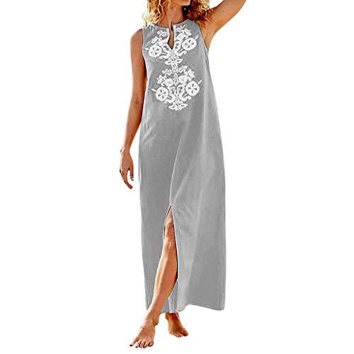 QIMANZI Damen GedrucktKurze Hülse V-Ausschnitt Maxikleid Hem Baggy Kaftan Langes Kleid(ZV Grau,L)