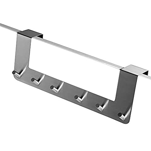 Pingenaneer 13.7 Inch Towel Door Hanger / Stainless Steel Bathroom Over Door Hooks (6 Hooks)